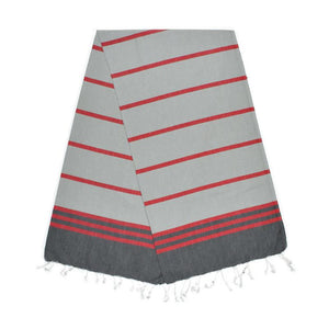 The Original Turkish Towels - Kamil Pebble Grey Berry Red Stone Grey Turkish Towel