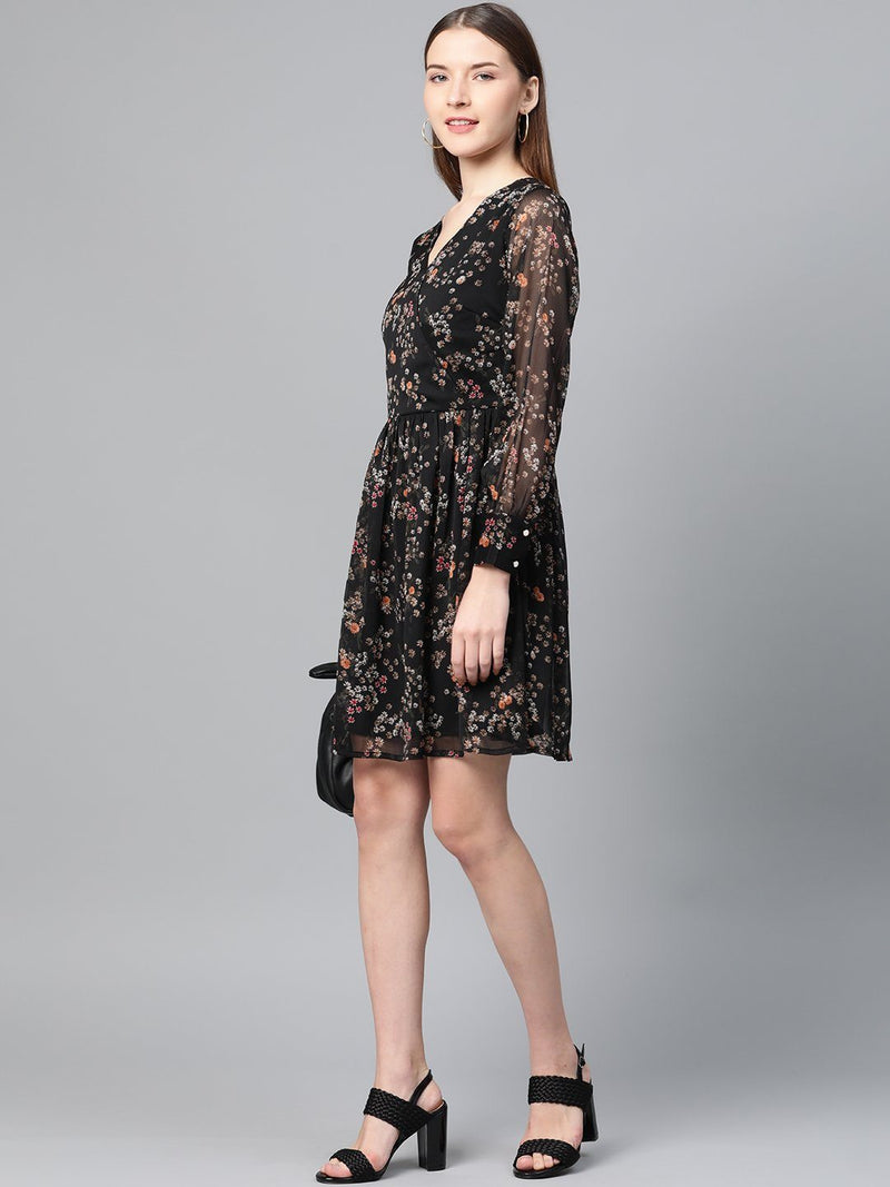 Black Fit & Flare Floral Dress - RUNWAYIN