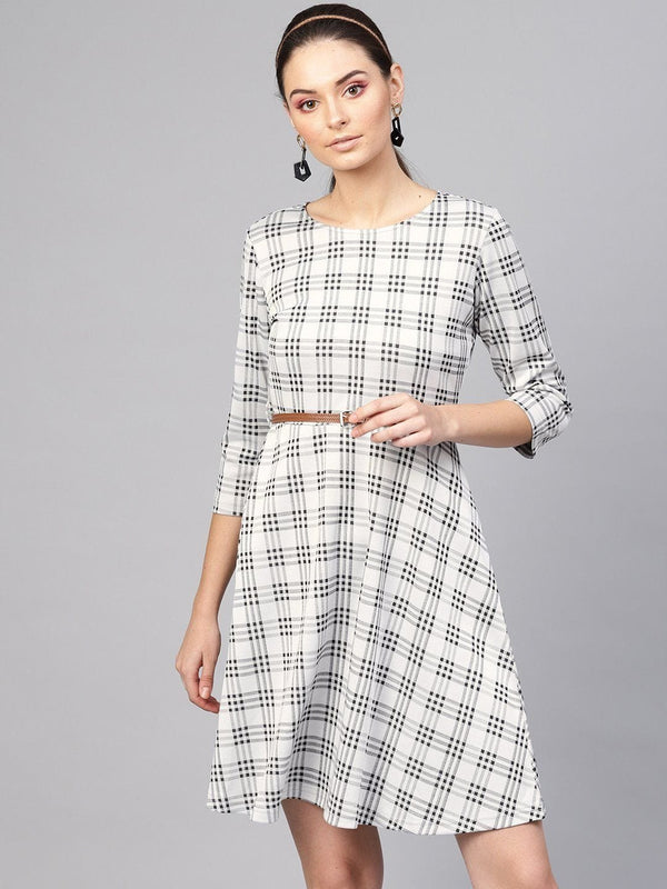 Black & Grey Check Belted Skater Dress - RUNWAYIN