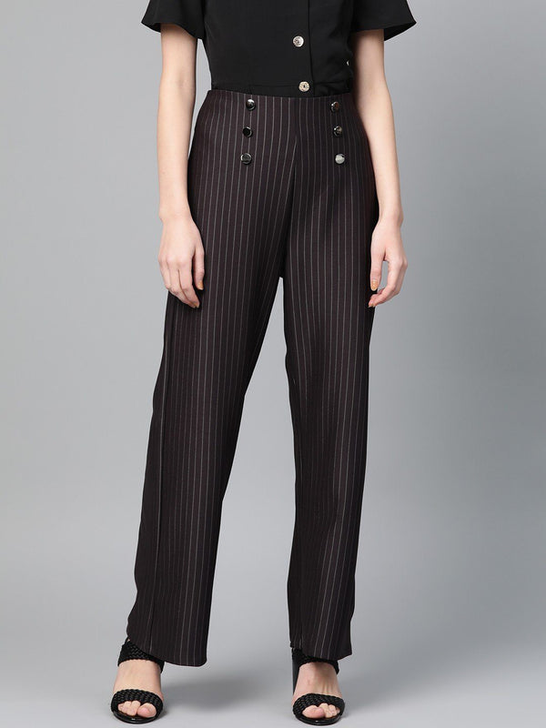 Black Pinstripe Flared Trousers - RUNWAYIN