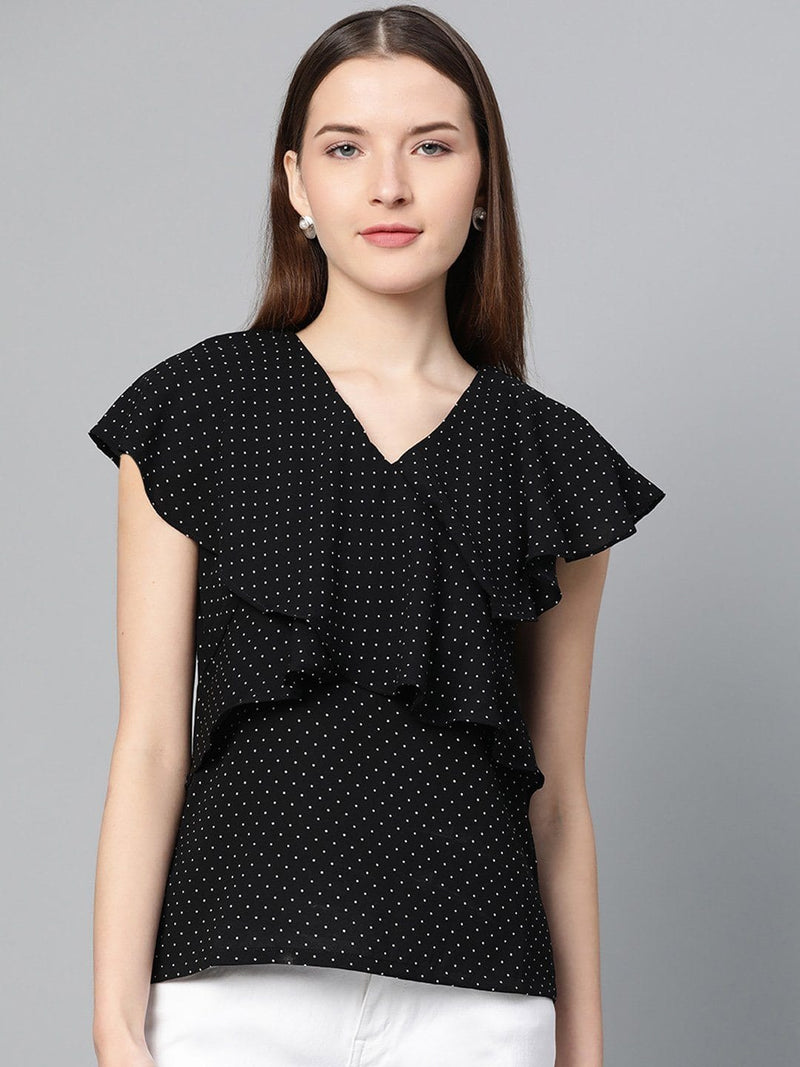 Black Polka Dots Ruffle Top - RUNWAYIN