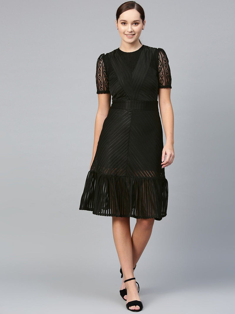Black Ruffle & Lace Hem Evening Dress - RUNWAYIN