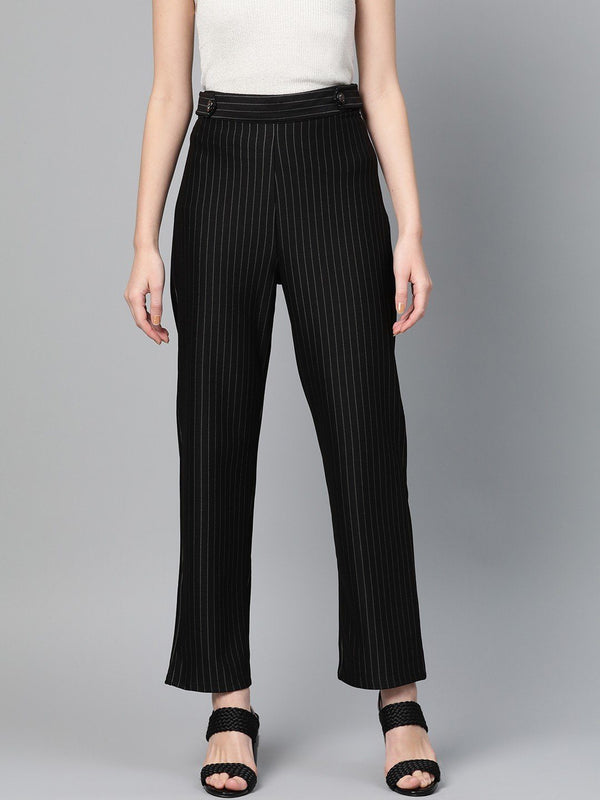 Black Striped Straight Fit Pants - RUNWAYIN