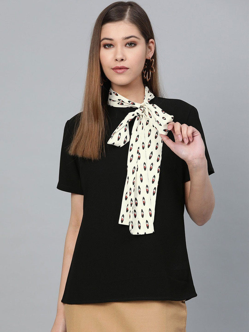 Black Top with Printed Neck Scarf - RUNWAYIN