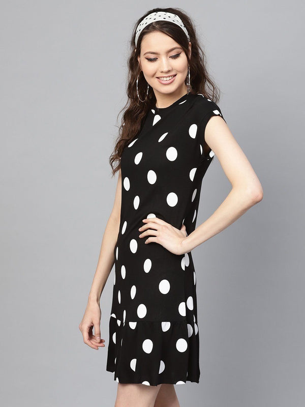Black & White Polka Frill Hem Dress - RUNWAYIN