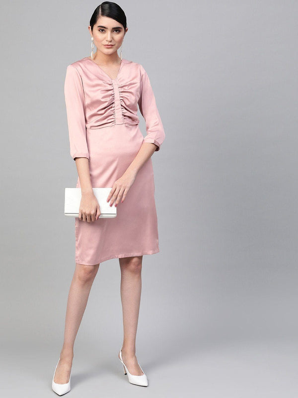 Blush Pink Gathers Shift Dress - RUNWAYIN