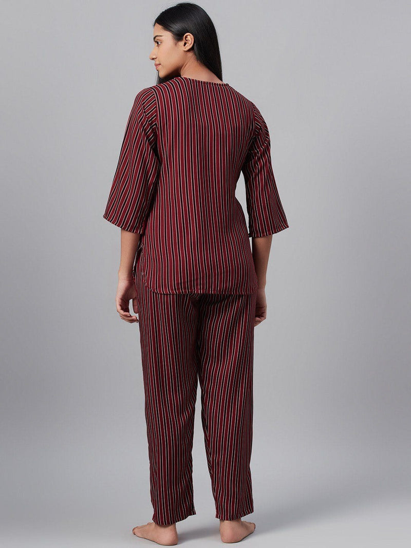 Cherry Stripes Cotton Loungewear Set Loungewear RUNWAYIN