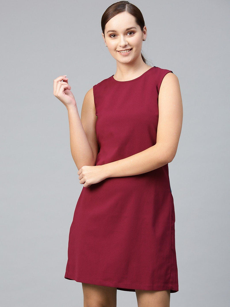 Color Block Drop Waist Shift Dress - RUNWAYIN