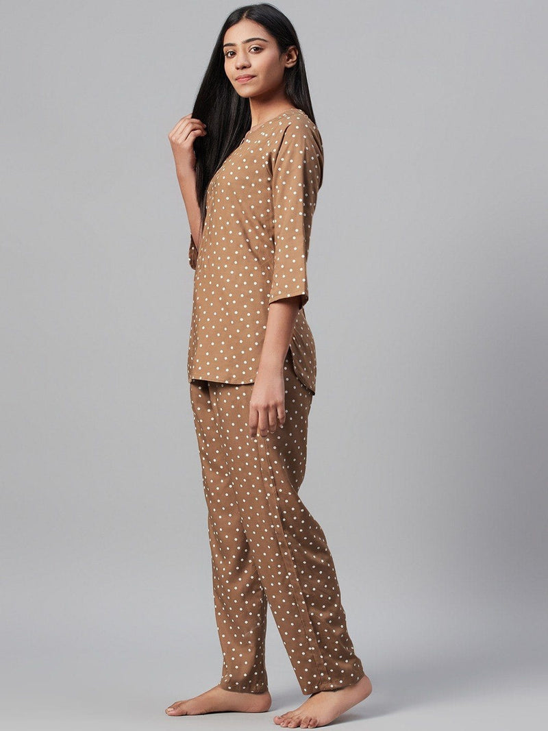 Dusky Brown Cotton Loungewear Set Loungewear RUNWAYIN