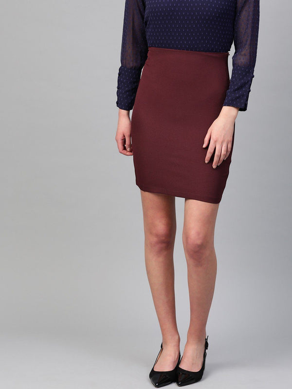 Essential Pencil Skirt – Burgundy - RUNWAYIN