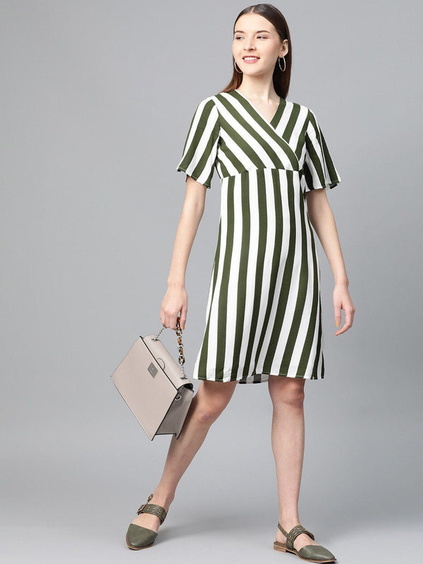 Green & White Stripes Dress - RUNWAYIN