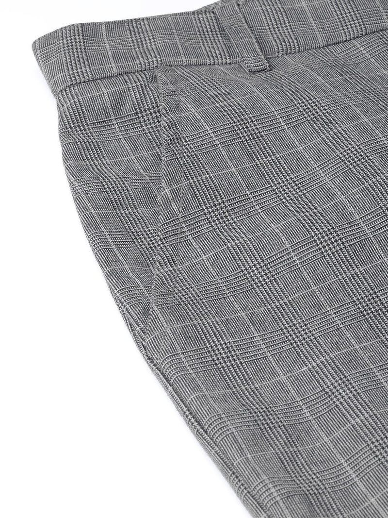 Grey Checks Slim-Fit Trousers - RUNWAYIN