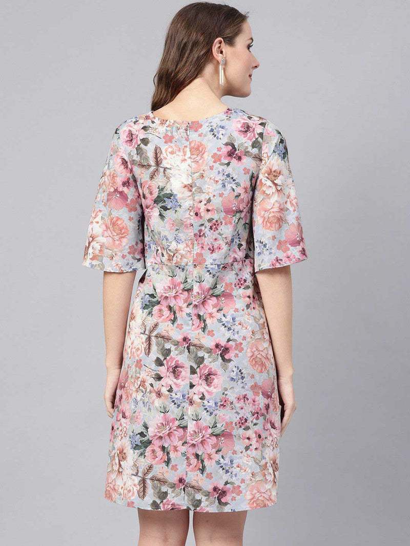 Grey Floral Front Knot Dress - RUNWAYIN