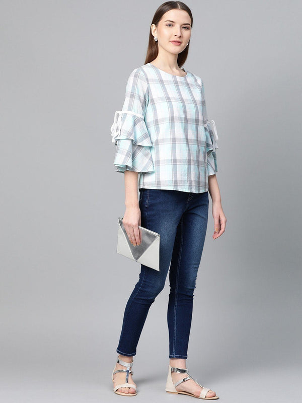 Grey & White Checks Bell Sleeve Top - RUNWAYIN
