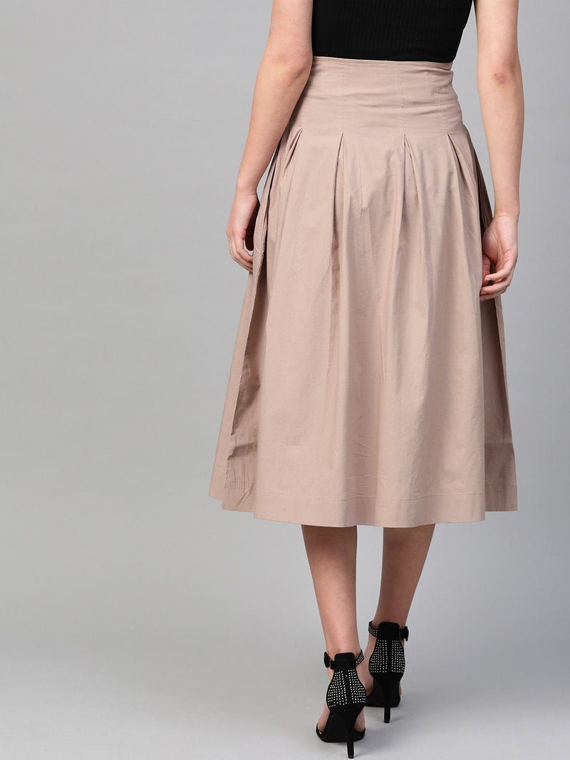 High-Waist Pleated Cotton Skirt, Beige - RUNWAYIN