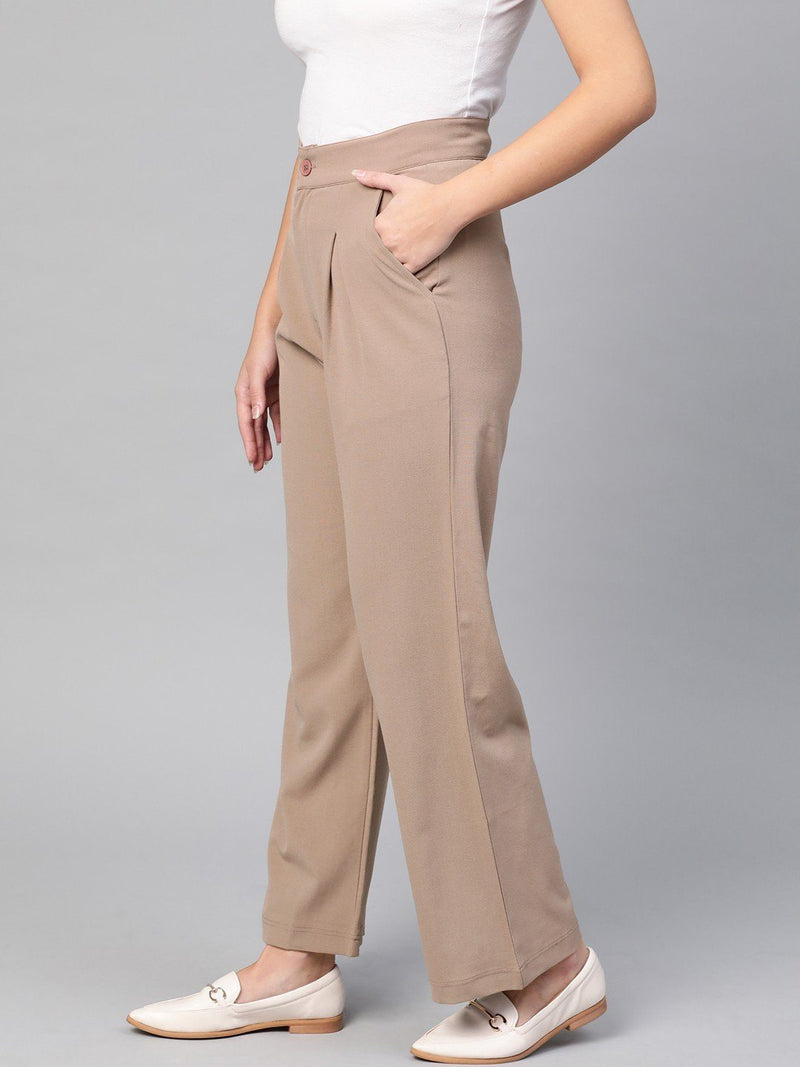 High Waist Wide-Leg Beige Trousers - RUNWAYIN