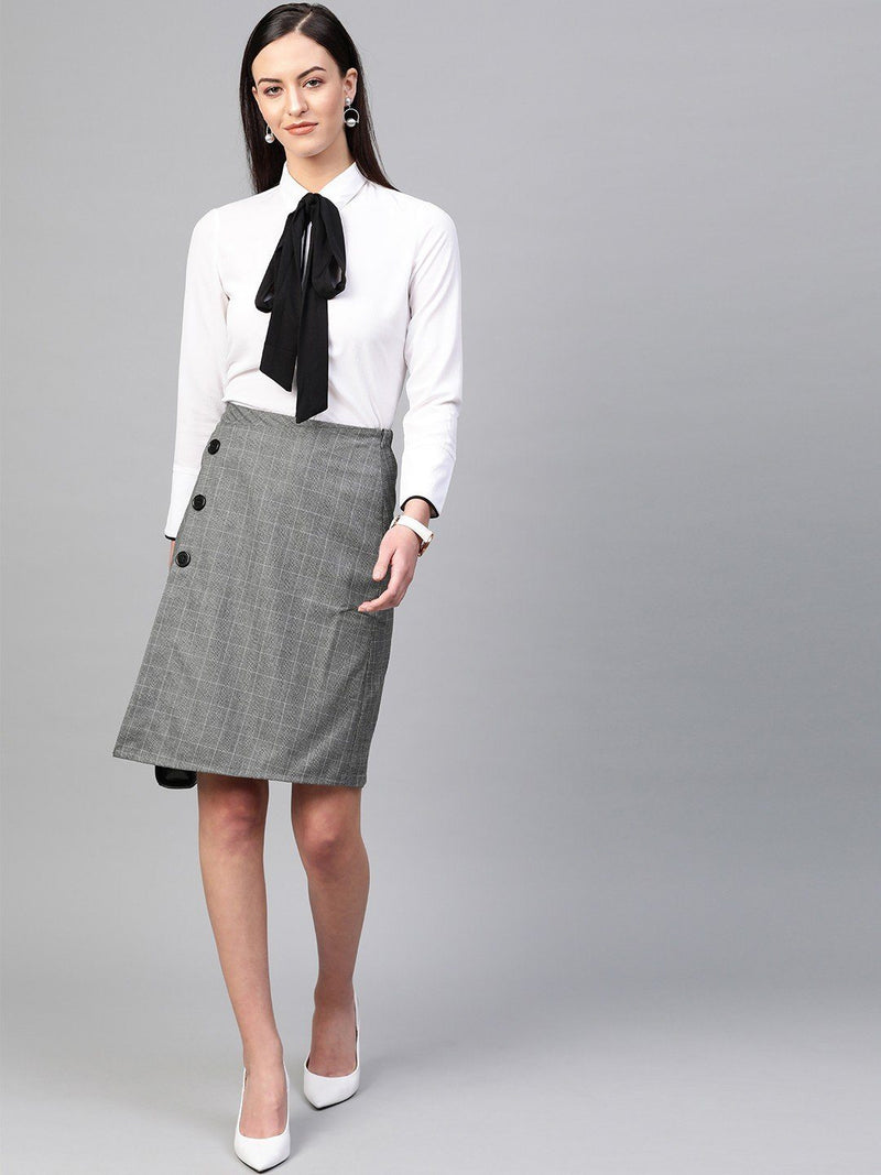 Houndstooth Knee Length Overlap Skirt - RUNWAYIN