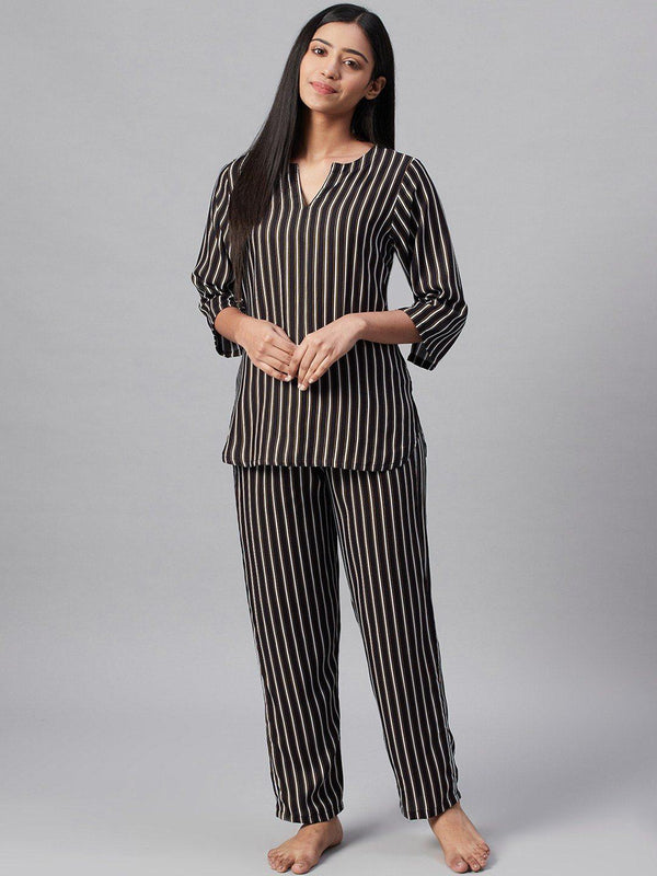 Indigo Stripes Cotton Loungewear Set Loungewear RUNWAYIN