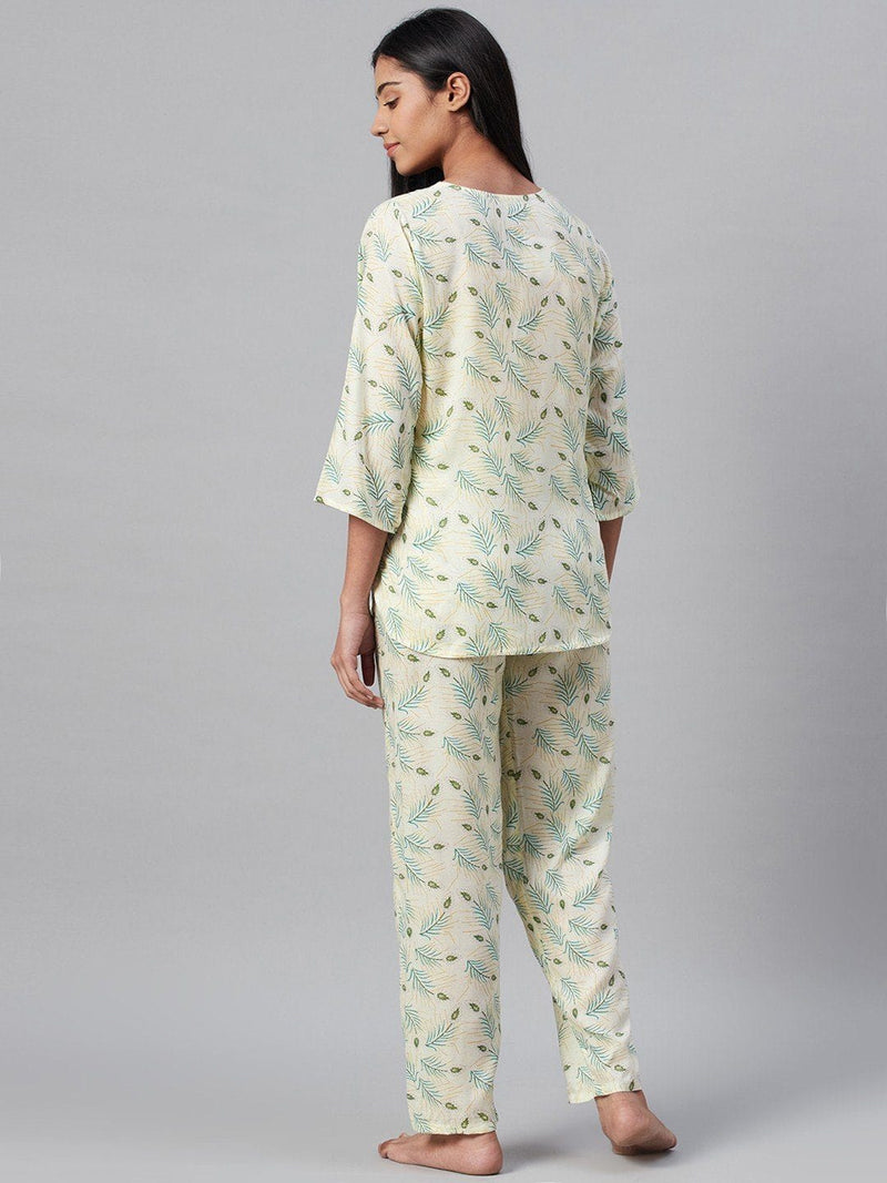Ivory Foliage Cotton Loungewear Set Loungewear RUNWAYIN