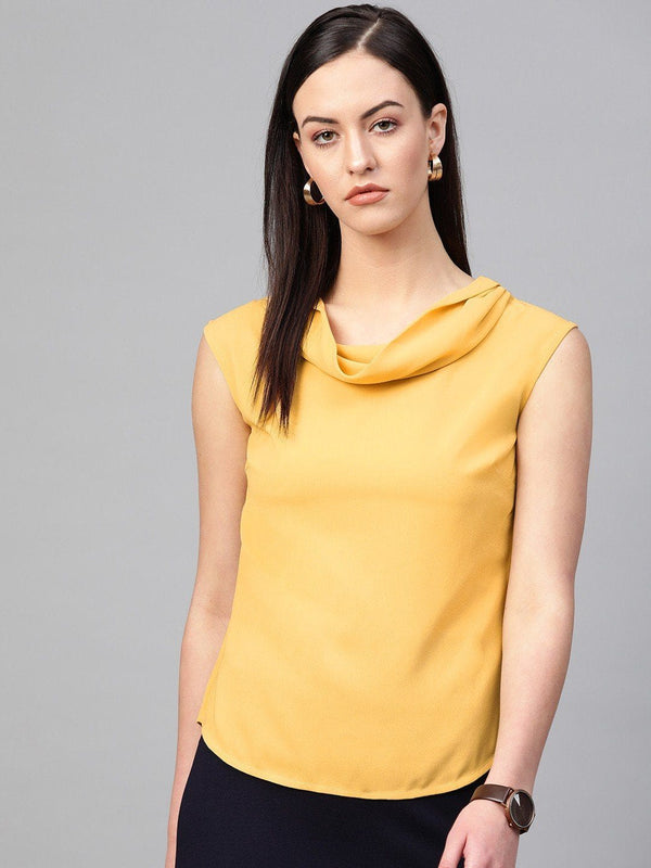 Lemon Cowl Neck Moss Top - RUNWAYIN