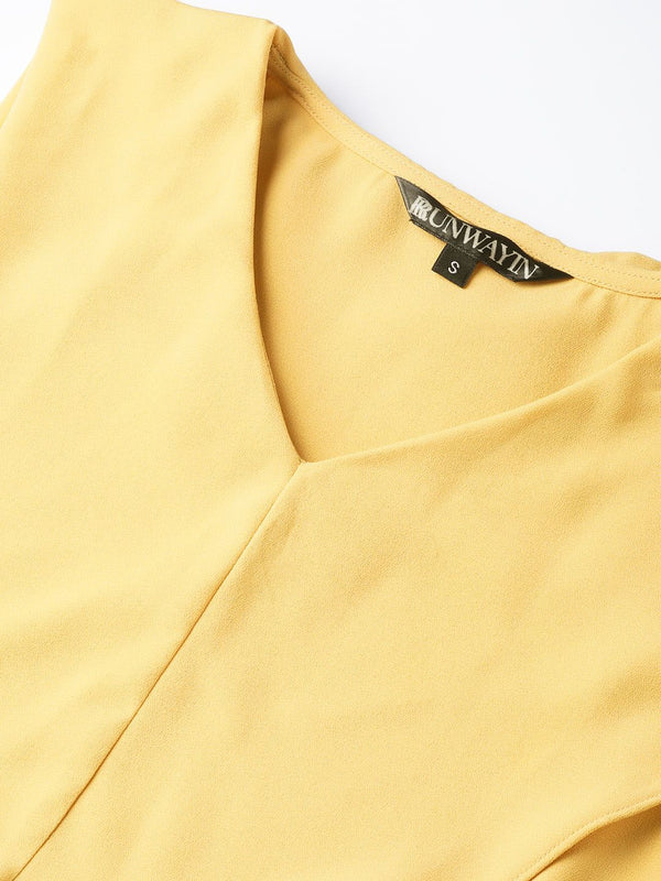 Lemon Front Overlay V-Neck Top - RUNWAYIN