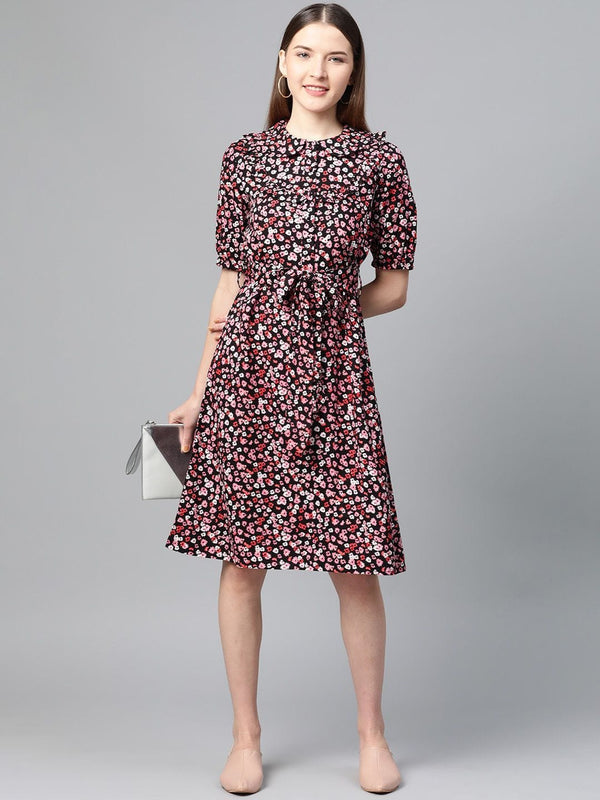 Multicolor Floral Shift Dress - RUNWAYIN