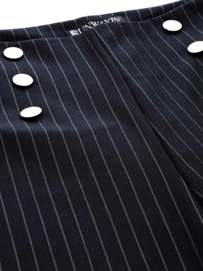 Navy Pinstripe Flared Trousers - RUNWAYIN