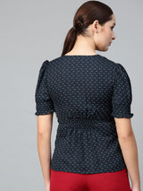 Navy Polka Smocked Printed Top - RUNWAYIN