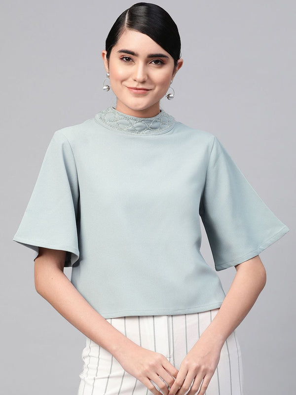 Neck Design Boxy Fit Top - RUNWAYIN