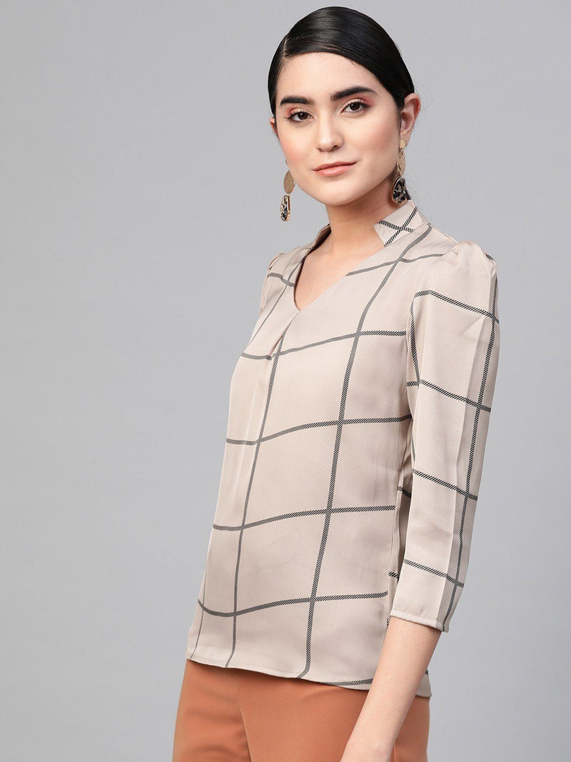 Nutmeg Check Print V-Neck Top - RUNWAYIN
