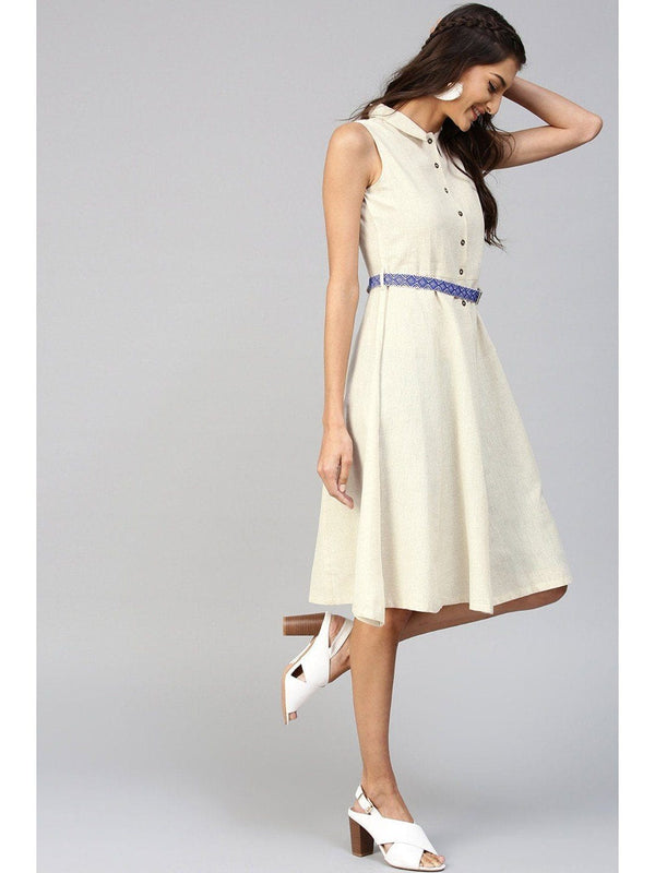 Off-White Midi Dress with Belt - RUNWAYIN