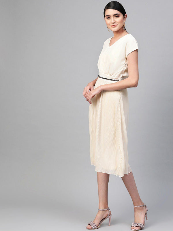 Off-White Pleated Midi Dress - RUNWAYIN