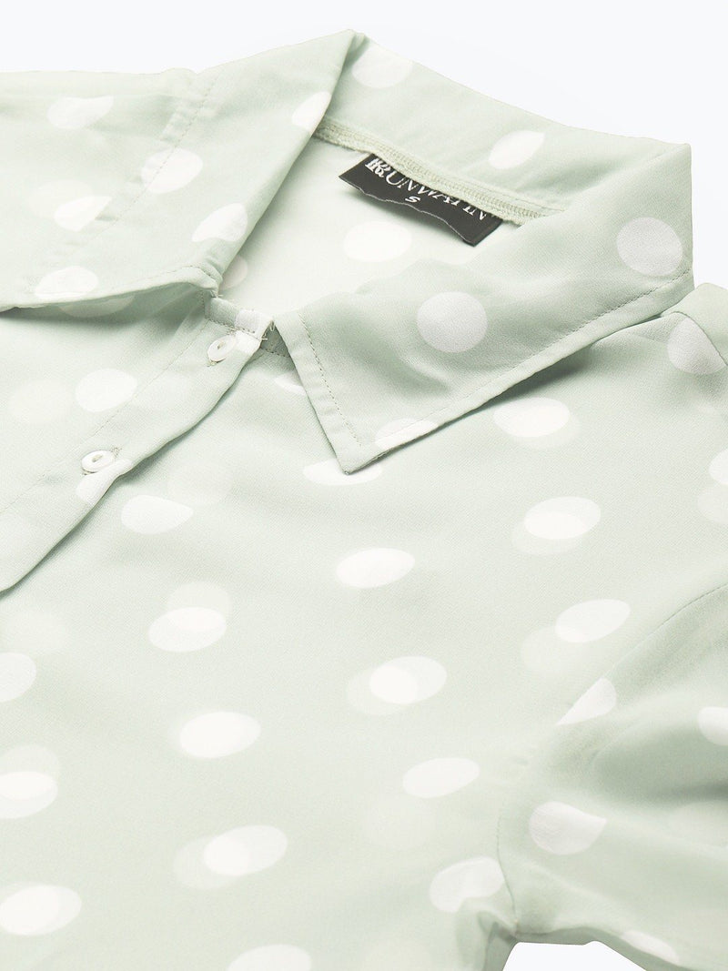 Olive Polka Dot Boxy Sheer Shirt Top RUNWAYIN