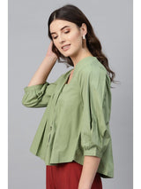 Olive V Neck Front Open Blouse - RUNWAYIN