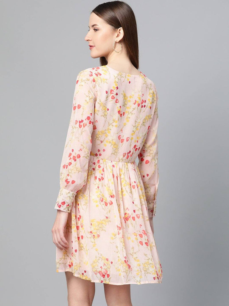 Peach Fit & Flare Floral Dress - RUNWAYIN