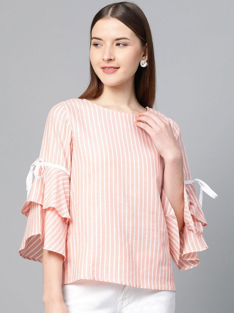 Pink & White Stripes Bell Sleeve Top - RUNWAYIN