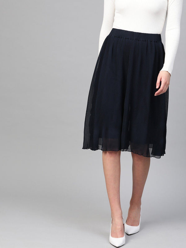 Pleated Navy Culottes Skirt - RUNWAYIN