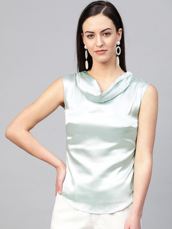 Powder Blue Cowl Neck Satin Top - RUNWAYIN