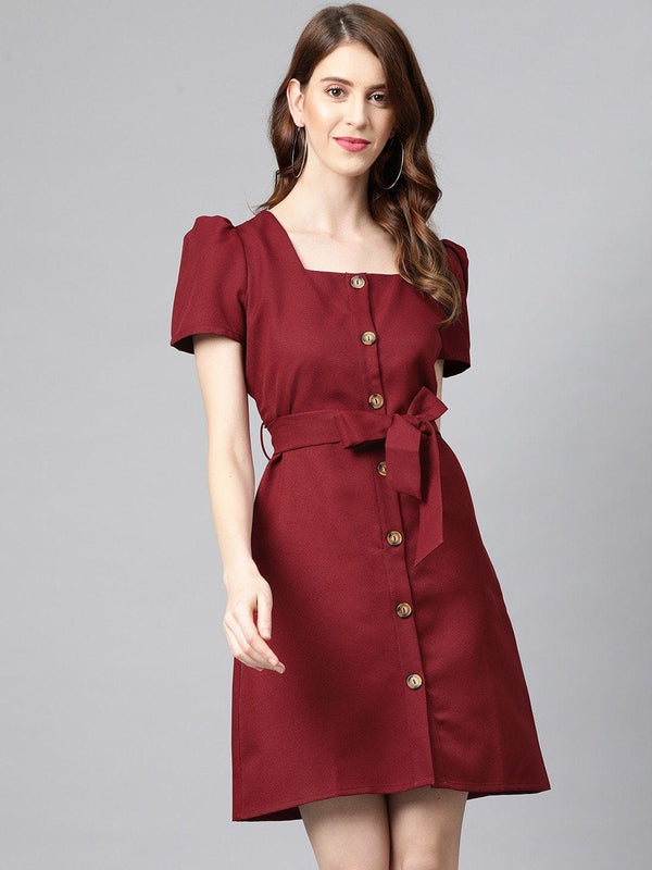Red Solid Shirt Dress Dress RUNWAYIN
