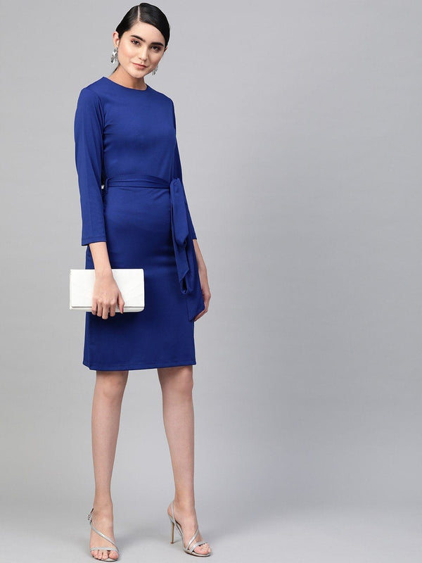 Royal Blue Front Tie Sheath Dress - RUNWAYIN