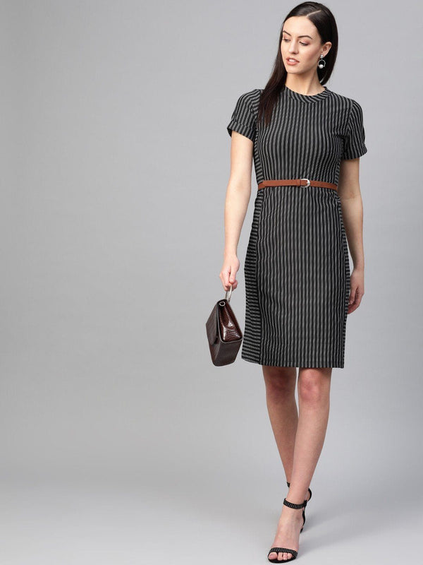 Striped Back-Tie Midi Dress - RUNWAYIN