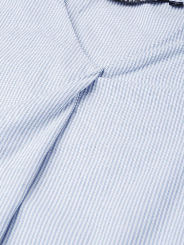 Stripes Blue Top with Side Tie-Up - RUNWAYIN