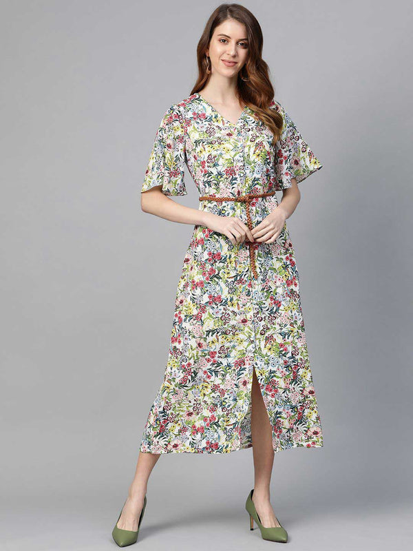 White Floral A-Line Dress - RUNWAYIN