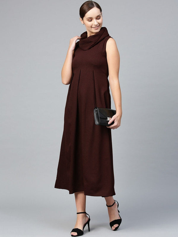 Wine Cowl Neck Pleats Maxi Dress - RUNWAYIN