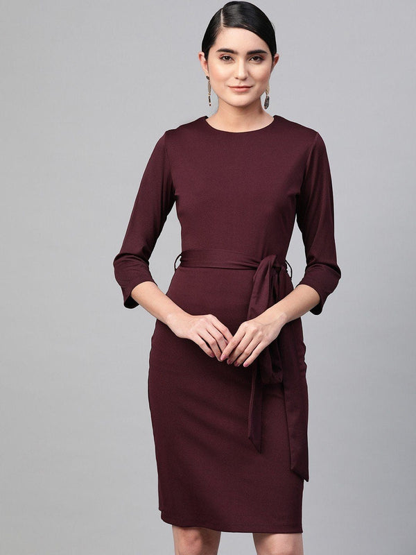 Wine Front Tie Sheath Dress - RUNWAYIN