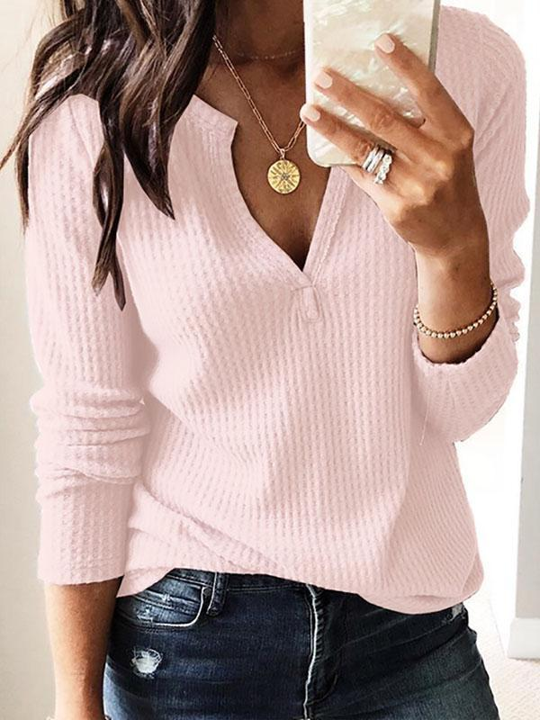 V-neck ribbed knitted sweater