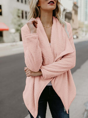 Turn-down collar plush irregular coat
