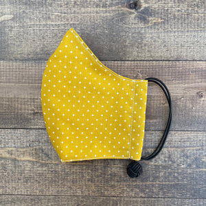 k(not) mask in mustard crosshatch(black elastic)