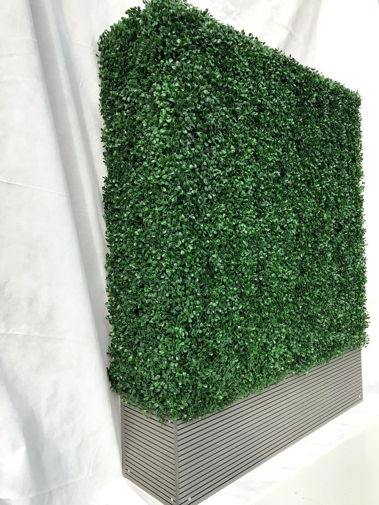 Artificial boxwood hedge in composite decking planter 100 L x 25 D x 125 H cm
