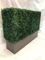 Artificial boxwood hedge in composite decking planter 100 L x 25 D x 75 H cm